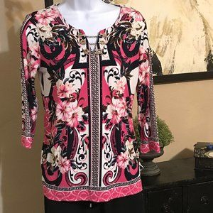 NWT JM Collection Pink Floral Blouse P/S